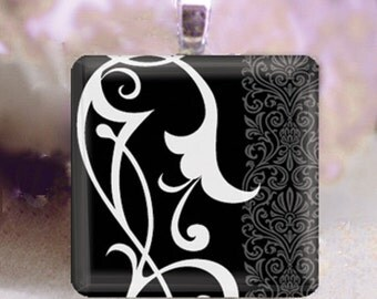 60% OFF CLEARANCE Glass tile pendant - Sophisticated Floral Design