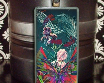 60% OFF CLEARANCE Butterfly Collage Glass Bamboo Tile Pendant (GRB102)