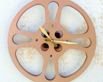 Clock, Movie Reel Clock, Wall Clock, 16mm Metal Movie Reel Clock, Recycled, Upcycled Gift Item #27