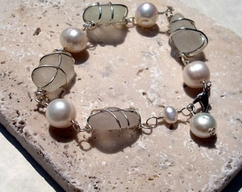 White Sea Glass and Freshwater Pearl Bracelet -Beach Glass Jewelry
