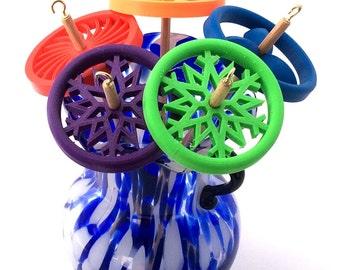 Drop Spindle - 3D Printed - Snowflake - Top Whorl