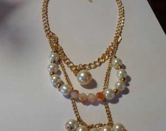 3 Tier pearl and crystal bead necklace