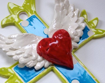 ceramic Cross with tattoo winged heart whimsical colorful polka-dots for Cross Collection