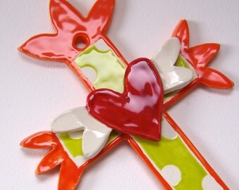 Bright whimsical ceramic Cross - Tangerine orange & chartreuse, polka-dots and a winged heart