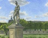 Cinncanatus in the Tuileries: Original Oil Painting Urban Plein Air Landscape