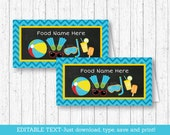 Pool Party Buffet Cards / Boys Pool Party / Food Labels / Place Cards / Birthday Pool Party / INSTANT DOWNLOAD Editable PDF A333