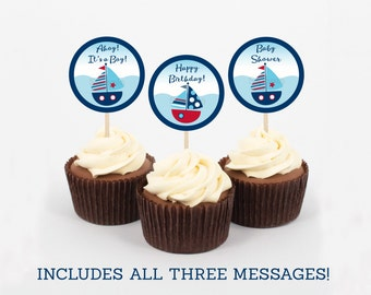 Cute Sailboat Cupcake Toppers / Sailboat Baby Shower / Nautical Baby Shower / Ahoy It's a Boy / Baby Boy Nautical / INSTANT DOWNLOAD A103