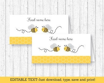 Bumble Bee Buffet Cards / Bumble Bee Tent Cards / Food Labels / Place Cards / Bee Baby Shower / Yellow & Grey INSTANT DOWNLOAD Editable PDF
