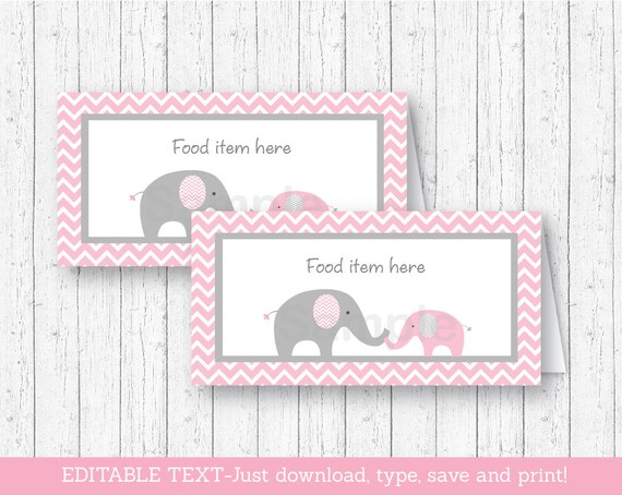 pink elephant food tent cards / place cards / elephant baby shower, Baby shower invitations