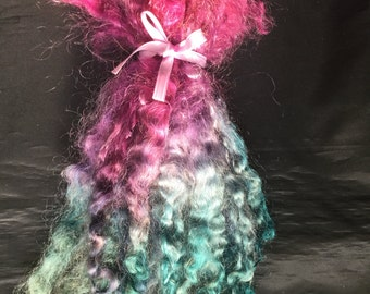 SALE! 2.7 oz. pink orchid purple teal green washed uncombed mohair locks Blythe spinning fiber doll hair wigs craft supplies