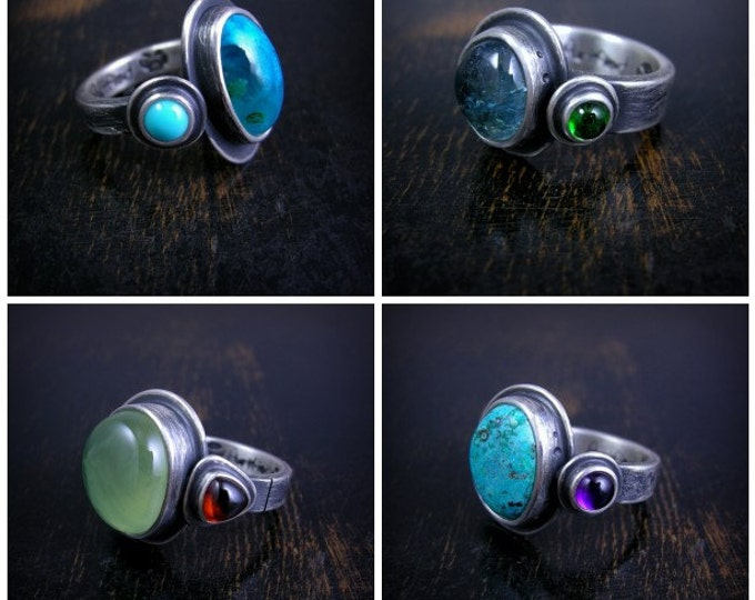 Pick a stone Dubbler Ring made to order chunky sterling silver double setting