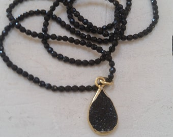Black Quartz Drusy Gold Vermeil Bezel Black Spinel Chain Necklace