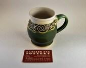Celtic Vine Mug 18oz - Gardener's Gift - Fairy Tea Party - Handmade Coffee or Tea Cup - Nature Lover's Pottery - Pagan Celtic Sca Renn Fair