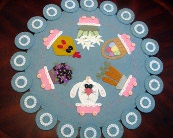 "24"" Hand Stitched Wool-Felt SPRING/EASTER Primitive - Folk Art - Pull Cart - Penny Rug -Home Decor - Spring Decor- Easter Decor - Table Mat"