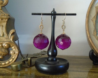 Large Purple Facetted Sphere Earrings