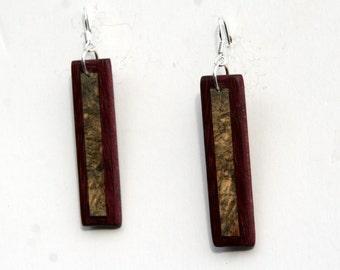 Buckey Burl and Purplheart Wood Earrings J151203