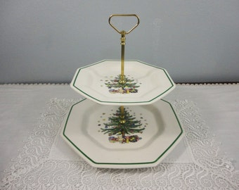 Vintage Two- Tiered Christmas Serving Plate with Handle by Nikko of Japan