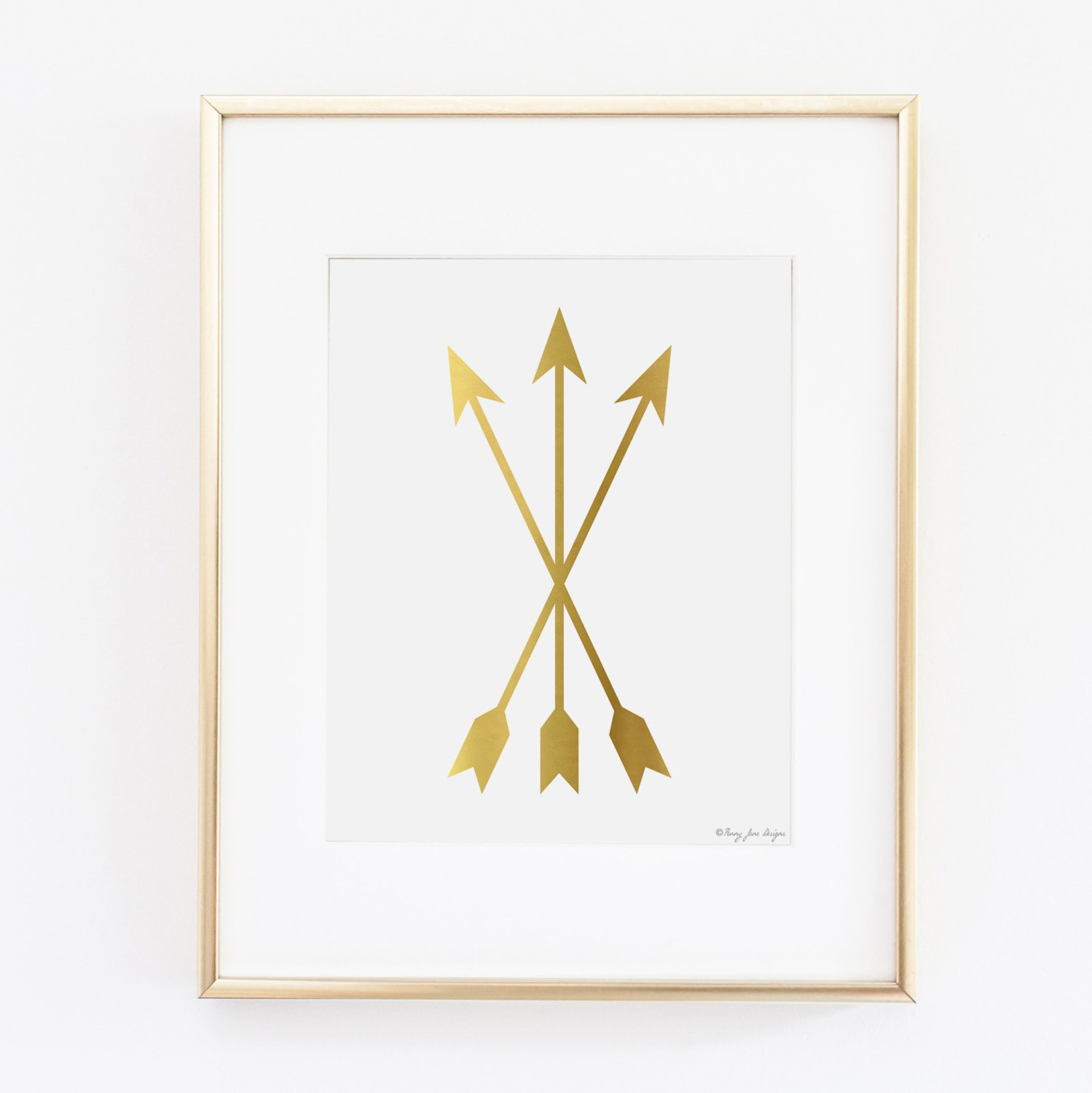 Gold Arrow Wall Decor : Arrow print wall art gold digital by