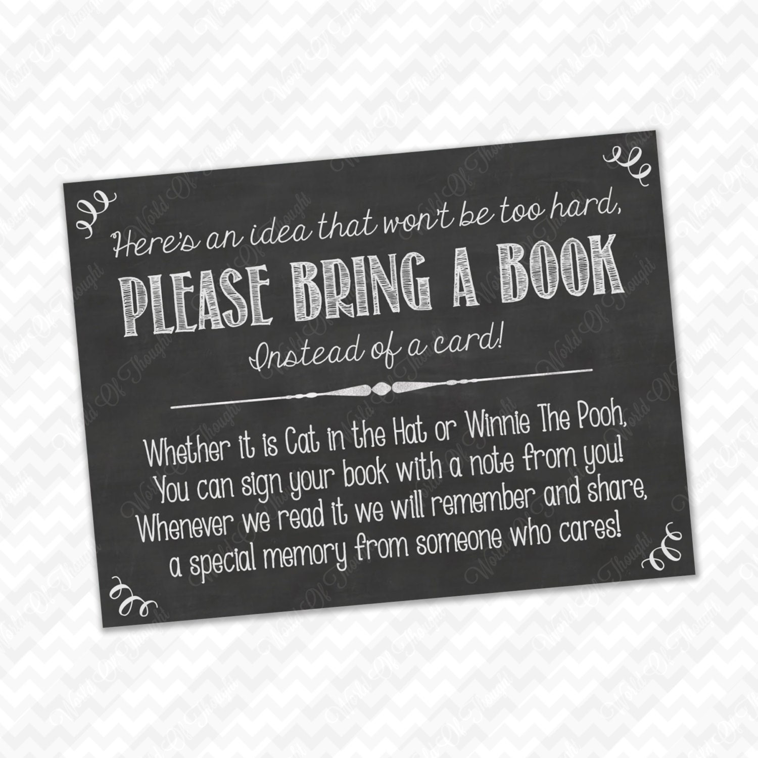 Please Bring a Book Instead of a Card Insert for Baby Shower