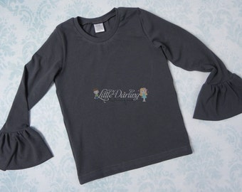 Charcoal Knit Ruffle Sleeve Shirt Ruffle Sleeve Top Knit Long Sleeve Top Knit Shirt Layering Shirt Layering Top