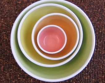 Ceramic Nesting Bowls - Large Set of Stoneware Pottery Bowls in Summer Fruits - Gourmet Gift