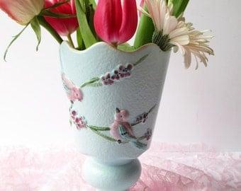 Vintage Hull Blue Pink Bird Footed Vase - 1950s