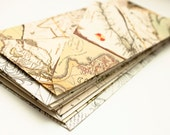 Upcycled antique Canadian map envelopes - Set of 10 - Standard size