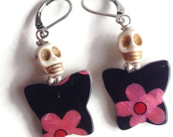White Skull on a Black and Pink Floral Butterfly Earrings Day of the Dead Halloween