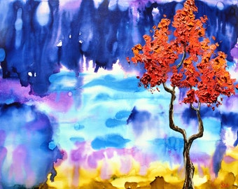 A Coral Tree Dream, Original Oil painting, Blue Rain, Alcohol Ink Painting, thick oil paint