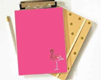 Clipboard - Flamingo - Foil - Foil Clipboard  - Acrylic Clipbard - Office Supplies - Organization - Tropical