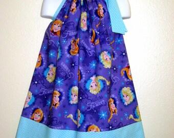 Disney Frozen Pillowcase dress, Sisters Elsa and Anna on purple