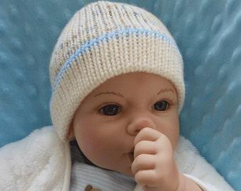 Newborn Knit Hat - Knit Hat for Newborn - Baby Hat - Baby Knit Hat - Shower Gift - Baby Boy Hat - Ivory Baby Hat - Baby Gift - Knitted Hat