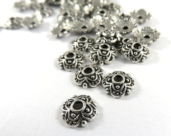 50 Antique Silver Flower Bead Caps 4 Petal Tibetan Style 8x8x2mm LF/NF - 50 pc - F4189BC-AS50
