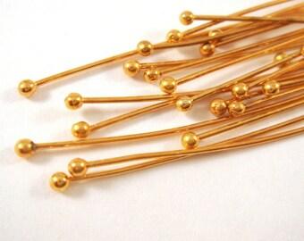 50 Gold Ball Headpins NF Plated Brass 2.25 inch (57mm), 20-21 Gauge Ball Pin - 50 pc - F4139BHP-G50