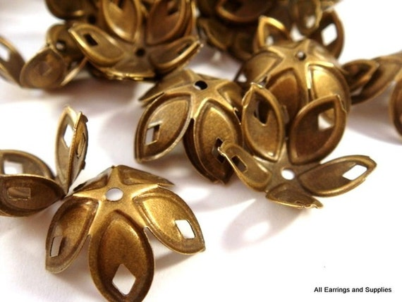 10 Brass Flower Bead Caps Plated Iron 18x8mm NF  - 10 pc - F4047BC-AB10-M