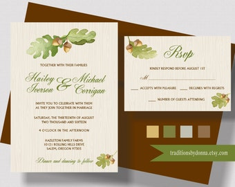 AUTUMN WEDDING INVITATION Suite, Fall Wedding Invitation Rustic Suite, Beautiful Fall Floral Watercolor, Oak Leaf and Acorn Shabby Chic