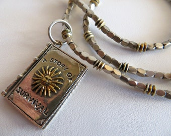 Survivor Necklace, Silver and Gold Necklace, Sale