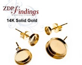 New!! REAL 14k YELLOW GOLD Solid Earring Bases with Bezel Cup, Earbacks included - Choose your Size (610014K)