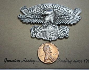 vintage harley davidson pin. EAGLE with HARLEY DAVIDSON banner  fantastic on card