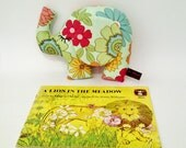 Very Small Retro Floral Elephant Soft Toy, Green Flowery 70's Style Elephant Toy, Cute Stocking Filler for Children