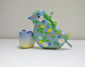 SPECIAL OFFER BIRDS Lavender Bird Sachet in Blue Strawberry Flower Vintage Fabric, Fresh Scented Sachet Gift, Mother's Day Gift