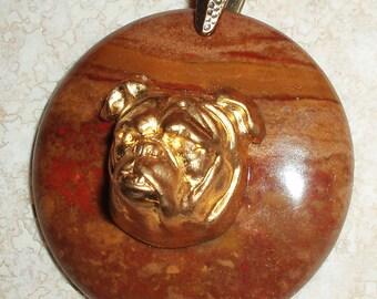 Brass Bulldog on Jasper Pendant
