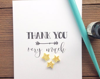 Quilled Thank You greeting card // THANK YOU ... very much // quilled yellow stars on white card stock // made in Canada