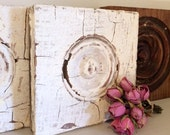 Antique Architectural Door Molding Block Rosette with White Shabby Chippy Paint
