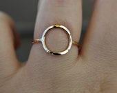 Goldfilled circle ring or sterling silver circle ring - dainty ring - hammered ring - simple band - eternity ring - minimalist