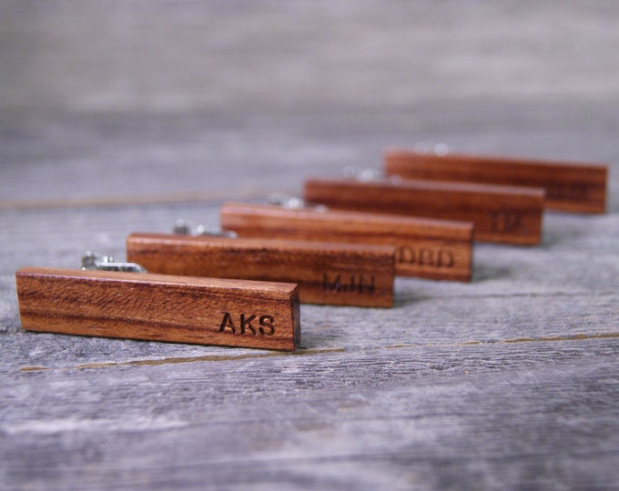 Groomsmen tie clip set: Handcrafted from African Bubinga with free personalization!