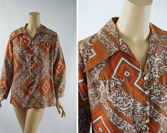 RESERVED Vintage 1970s Blouse Brown Abstract Pattern Fortrel Vtg Size 12 B40