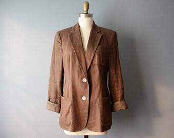 vintage linen blazer sz 8 / brown minimalist blazer / ralph lauren jacket