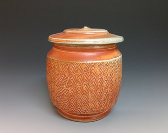 Lidded Jar with Texture Decoration. Soda Fired Stoneware Pottery