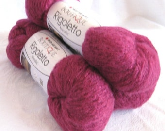 50% off - Red Heart Boutique Rigoletto yarn, HOT PINK super bulky weight  yarn with metallic hints